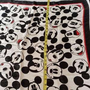 Vintage Silk blend mickey mouse scarf black red